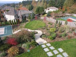 Steep Hill Backyard Ideas Bellevue Sport Court And Landscape U2013 Seattle Architects