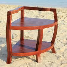 Outdoor Shower Bench Solid Teak Corner Shower Bench Chair With Shelf