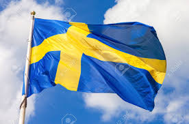 Swidish Flag Swedish Flag Blue With Yellow Cross Waving In The Wind Against