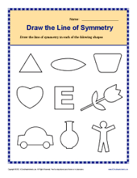 draw the lines of symmetry 4th grade geometry worksheets