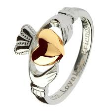 ladies rings pictures images Ladies silver claddagh ring with gold heart claddagh rings jpg