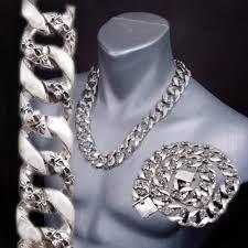 skull link necklace images Heavy chunky biker curb cuban links skull 925 sterling silver mens jpeg