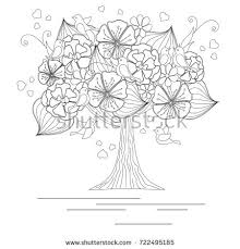 blooming tree loving birds butterfly coloring stock vector