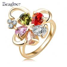 aliexpress buy beagloer new arrival ring gold beagloer fashion new multicolor flower ring gold color inlayed cubic