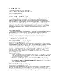 download sample public relations manager resume