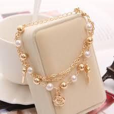 rose gold bracelet with pearls images Hesiod women link bracelets 3 layers rose key pendant imitation jpg
