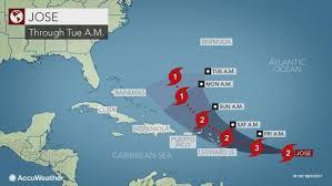 hurricane jose to threaten rain wind across leeward islands