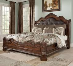 King Size Leather Headboard Brown Wooden Carving Bed Frame With Black Leather Headboard