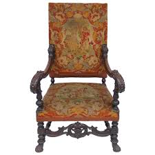 Armchair High Back Antique Louis Xiv Style Carved Fauteuil High Back Armchair With