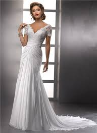 sheath v neck lace chiffon summer wedding dress with short sleeves