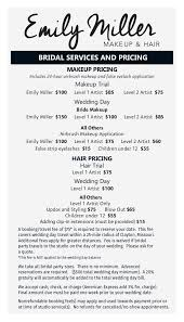 make up prices for wedding sle menu and pricing cards