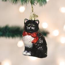 world tuxedo cat glass tree ornament 3 5 inch