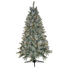 pre lit artificial christmas trees general foam 6 5 ft pre lit siberian frosted pine artificial
