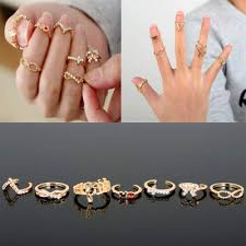 ring set pave glam bow infinity geo chevron midi knuckle stack ring set