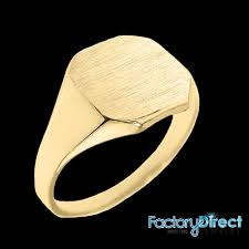 rings with initials solid yellow gold cut corners engravable men s signet ring
