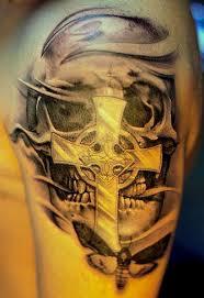 cross skull tattoo design idea for men and women