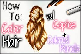 drawing tutorial how to color hair w copics colored pencils