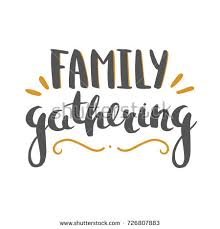 family gathering vector lettering stock vector