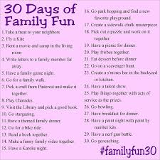 30 days of family and free printable challenges