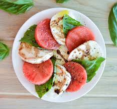 watermelon caprese with balsamic reduction