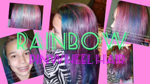 rainbow hair tutorial unicorn hair pinwheel highlights blue purple