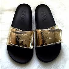 pink slides pink s secret shoes new victorias secret pink gold