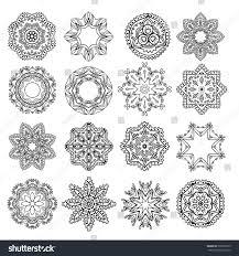 set ornaments mandala design lace stock vector 502087273