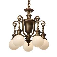 Chandelier Glass Globes Antique Colonial Revival Chandelier With Glass Globes Early 1900s
