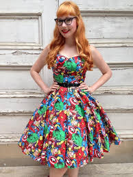 Marvel Super Heroes Clothing Full Circle U0027lily U0027 In Marvel 3 Fabric 1950s Vintage Style Dress