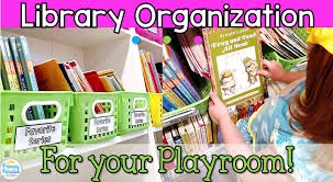 playroom book organization with trading color coded system