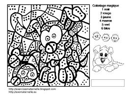 maternelle coloriage magique un chien et une coccinelle