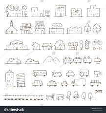 map elements sketch icon set house stock vector 639367378