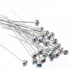 corsage pins 5mm diamante corsage pins iridescent 4cm pin 36 pcs per pk