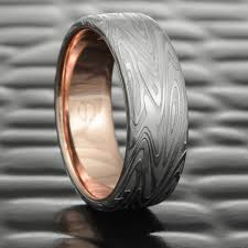 damascus steel wedding band organic wood flat damascus steel wedding band with 14k gold