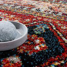 Wohnzimmer Orientalisch Designer Teppich Modern Kurzflor Orientalisch Design Schwarz Rot