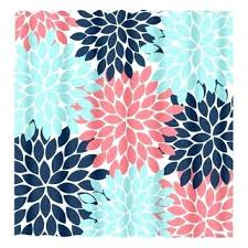 Coral And Navy Curtains Coral Shower Curtains Fancy Coral Shower Curtains And Coral Reef