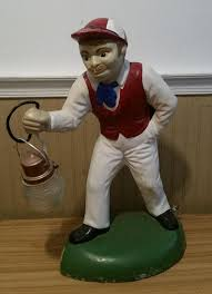 vintage original concrete lawn jockey with lantern ebay
