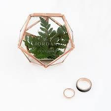 small glass geometric terrarium style ring box modern couple
