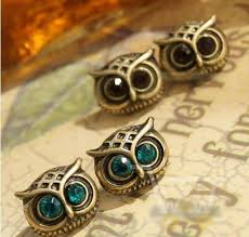 big stud earrings lovely big eye owl rhinestone stud earrings