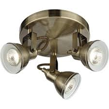 Brushed Brass Light Fixtures by Searchlight Lighting Focus 3 Light Spotlight Fixture In Antique