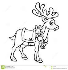 christmas santa reindeer coloring pages stock illustration image