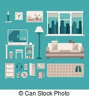 vector clipart of home interior work space table and sofa in