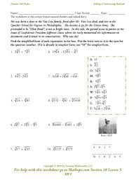 Exponents Printable Worksheets Rr 5 Adding And Subtracting Radicals Mathops