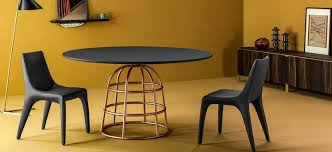 contemporary dining table glass metal marble mass by alain