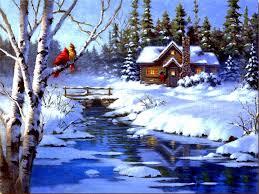 winter cardinals reflections holidays digital art drawings