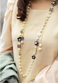 black pearl chain necklace images 2018 black white enamel flower bowknot pearl long chain necklace jpg