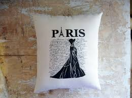 Home Decor France by Paris Pillow Dress French Script French Country Home Paris