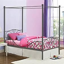 amazon com u0027s grey metal canopy bed twin sized princess gray