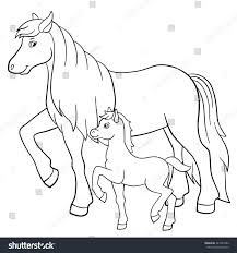 coloring pages farm animals mother horse stock vector 443341882