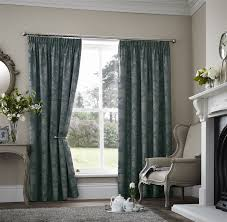 floral two tone teal thermal block out pencil pleat lined curtain